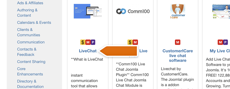 Joomla!: click on LiveChat card