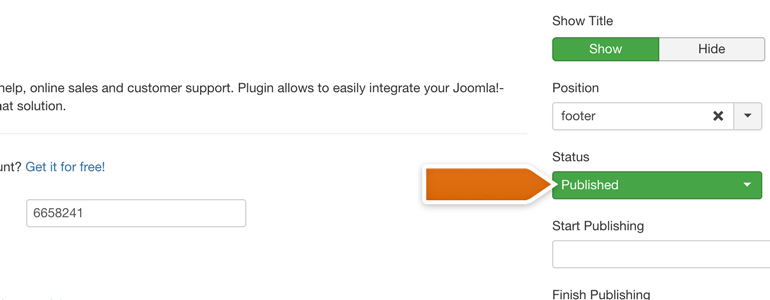 Choose the position for your plugin and make sure that it's published