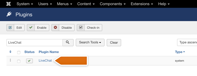 Joomla!: choose LiveChat from the list of available plugins