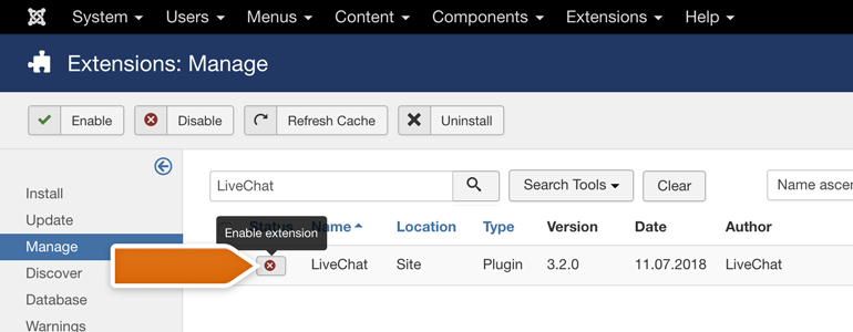 Joomla!: Look for LiveChat module and enable it