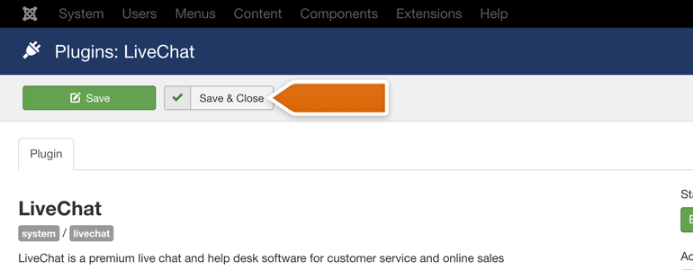 Joomla!: click on the Save & Close