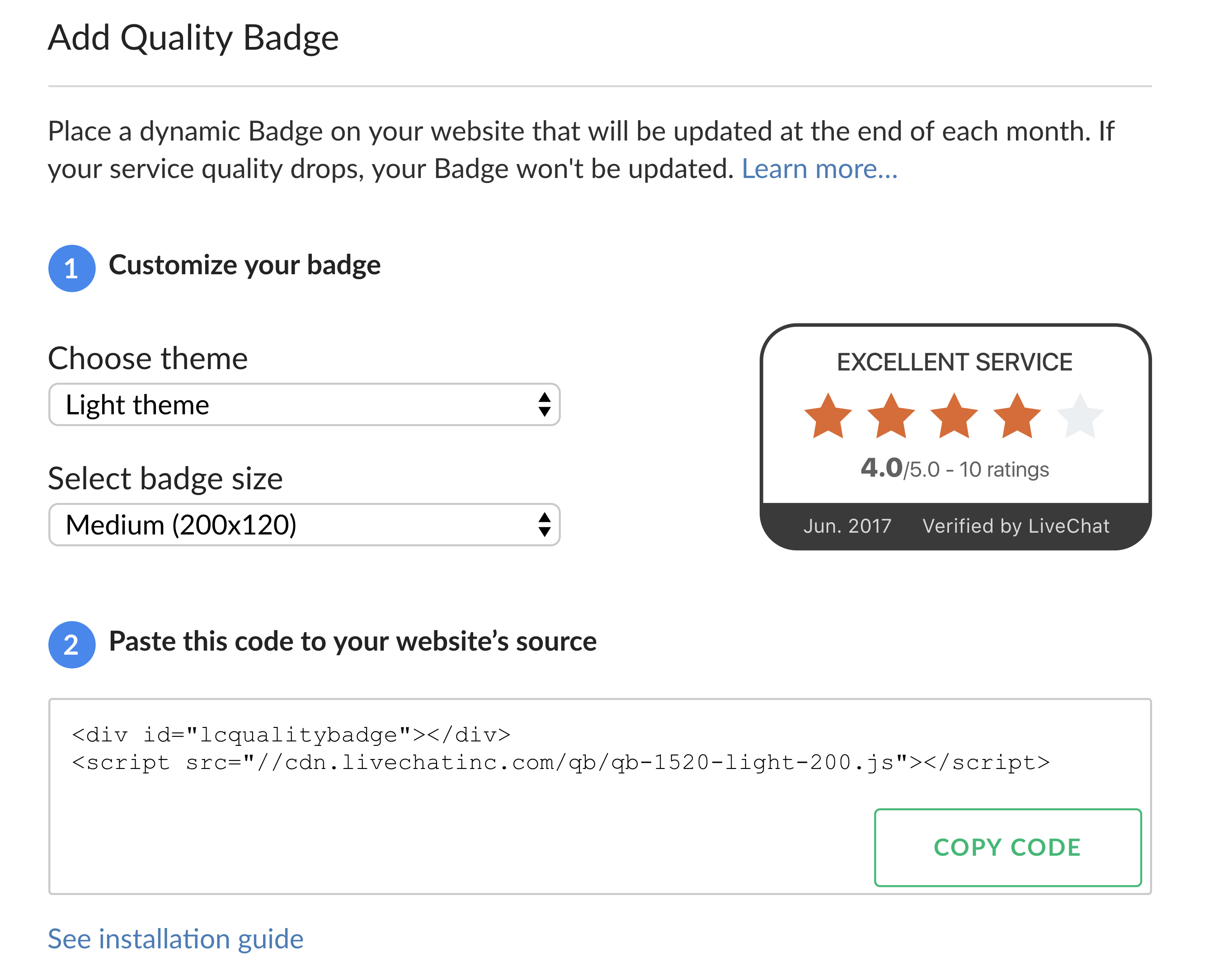 quality badge adding badge to your site
