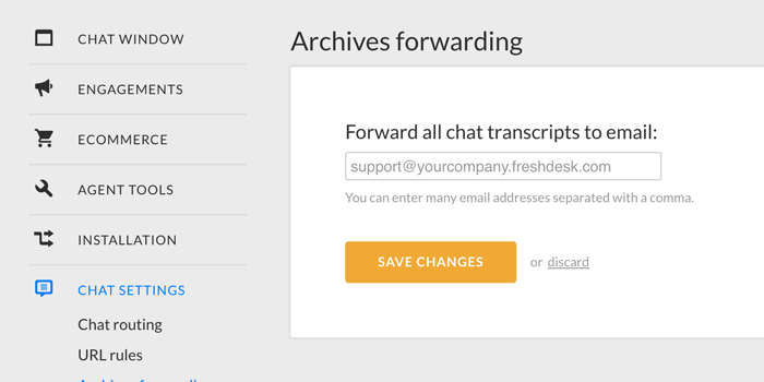 Archives forwarding in LiveChat