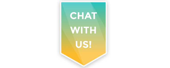 LiveChat eye catcher chat with us