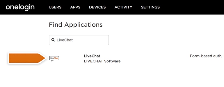 Choose LiveChat from the list of available applications