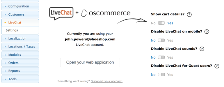 osCommerce LiveChat: add chat widget to your store