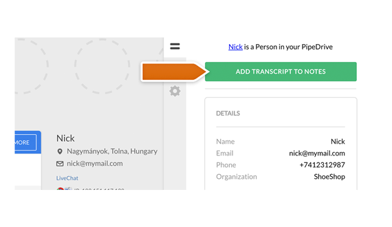 Add your chat transcripts to Notes in Pipedrive!