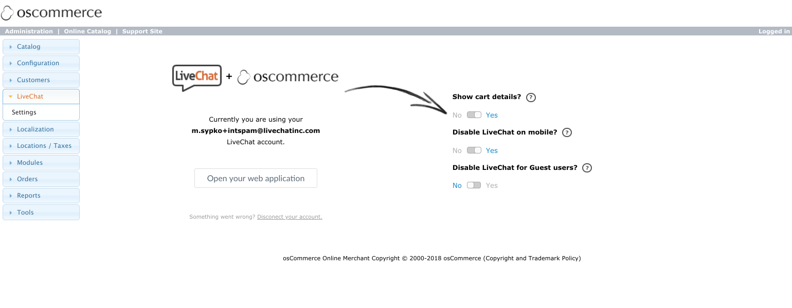 os Commerce LiveChat: add chat widget to your store