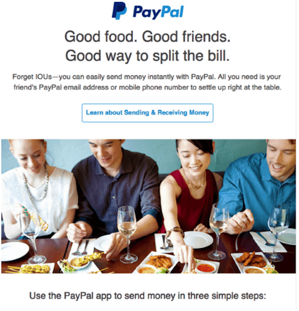 Pay Pal email example