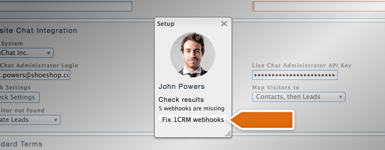 Click on Fix 1CRM webhooks button to proceed