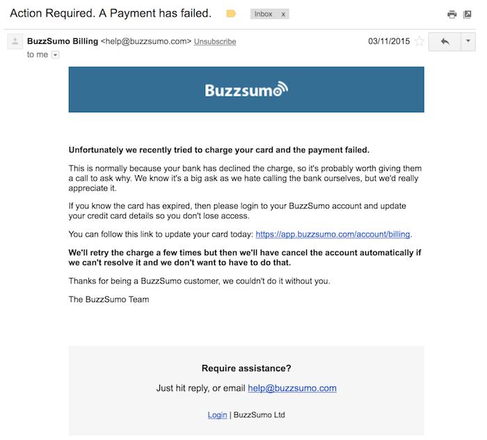 buzzsumo dunning process email
