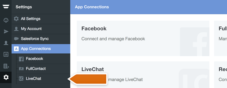 Choose LiveChat from the list of available App Connections