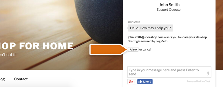 LiveChat Join me: Ask your customer to click on Allow button, available in his chat window