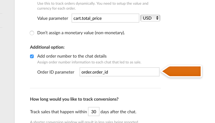 Entering order ID parameter for the LiveChat Sales Tracker