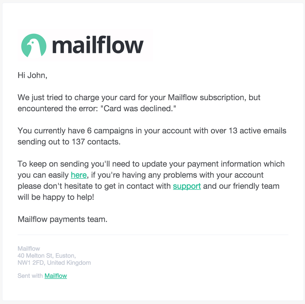 mailflow dunning process email