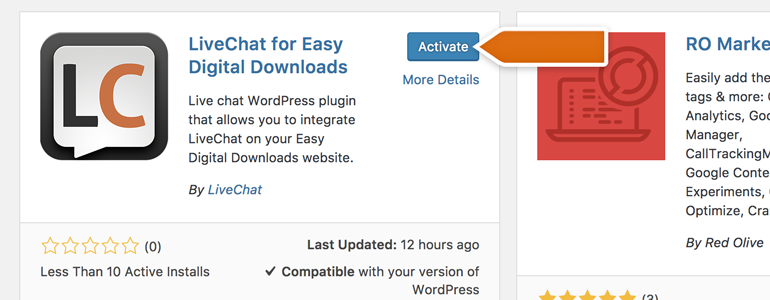 Easy Digital Downloads: After successful installation, click on Activate