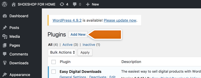 Easy Digital Downloads: Click on Add New button to proceed