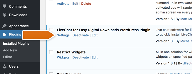 Go to Settings of LiveChat for Easy Digital Downloads plugin