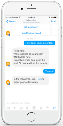 nanorep messenger chatbot screen