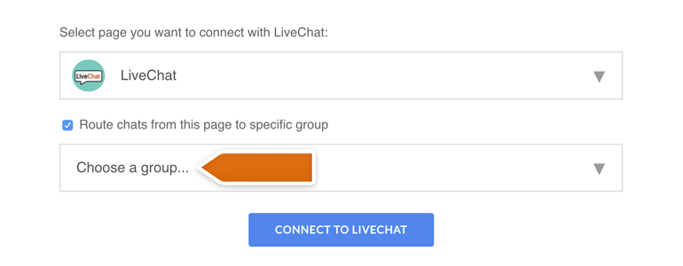 Messenger LiveChat: Choose a group