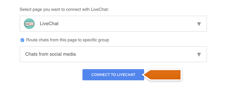 Messenger LiveChat: Click on Connect to LiveChat to finalize