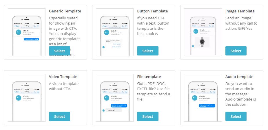 Botsify chatbot templates