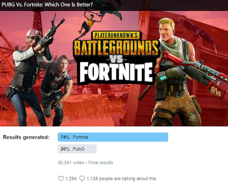 nfl poll twitter survey on battlegrounds vs fortnite