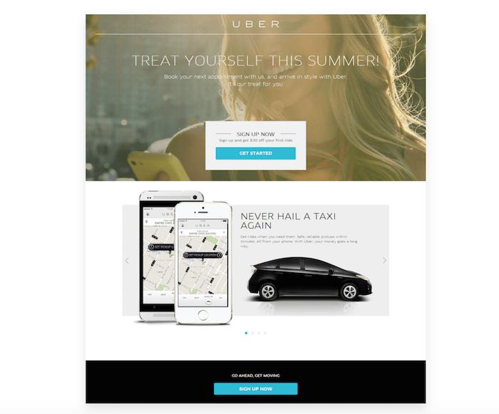 uber seasonal landing page