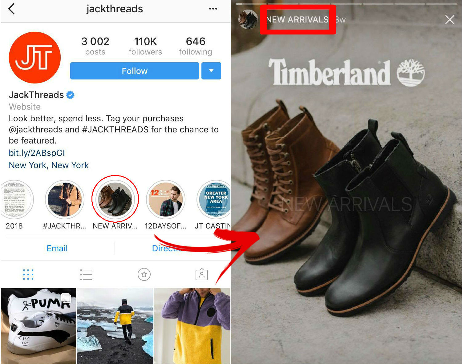 jackthreads instagram insta stories ecommerce