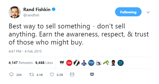 rand fishkin twitter on selling