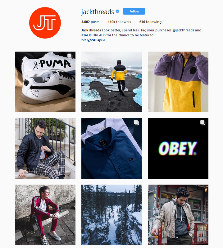 jackthreads ecommerce optimized instagram