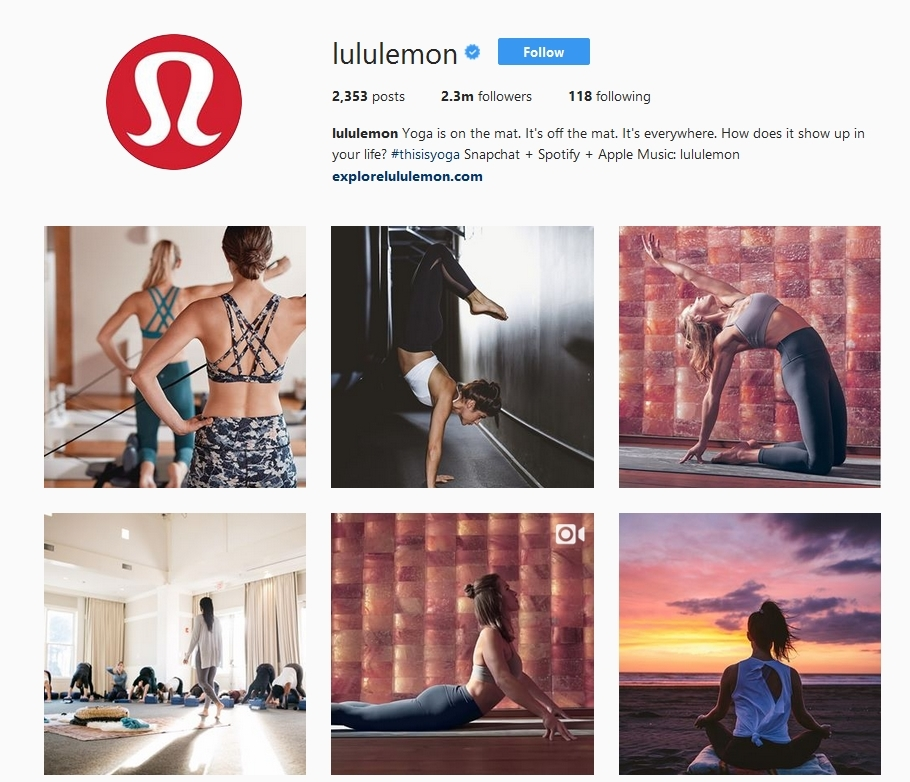 lululemon lifestyle intstagram marketing example