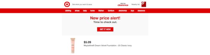 target price drop alert example