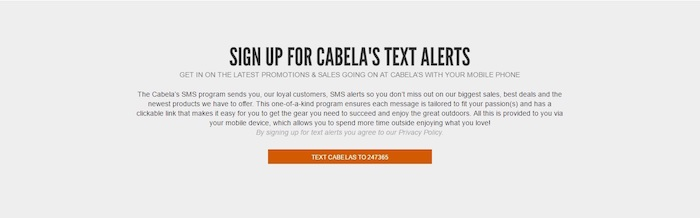 cabela discount offers text messaging sing up altert
