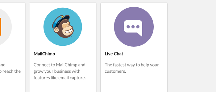 Select Live Chat from the list of available apps