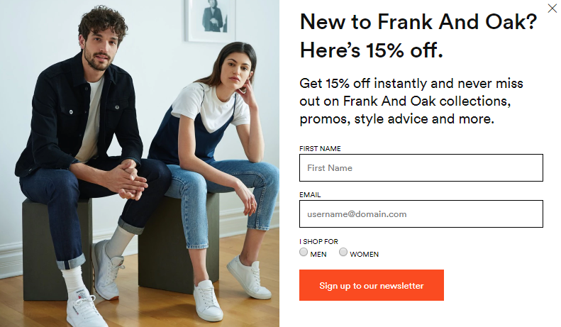 frank and oak new users discount popup
