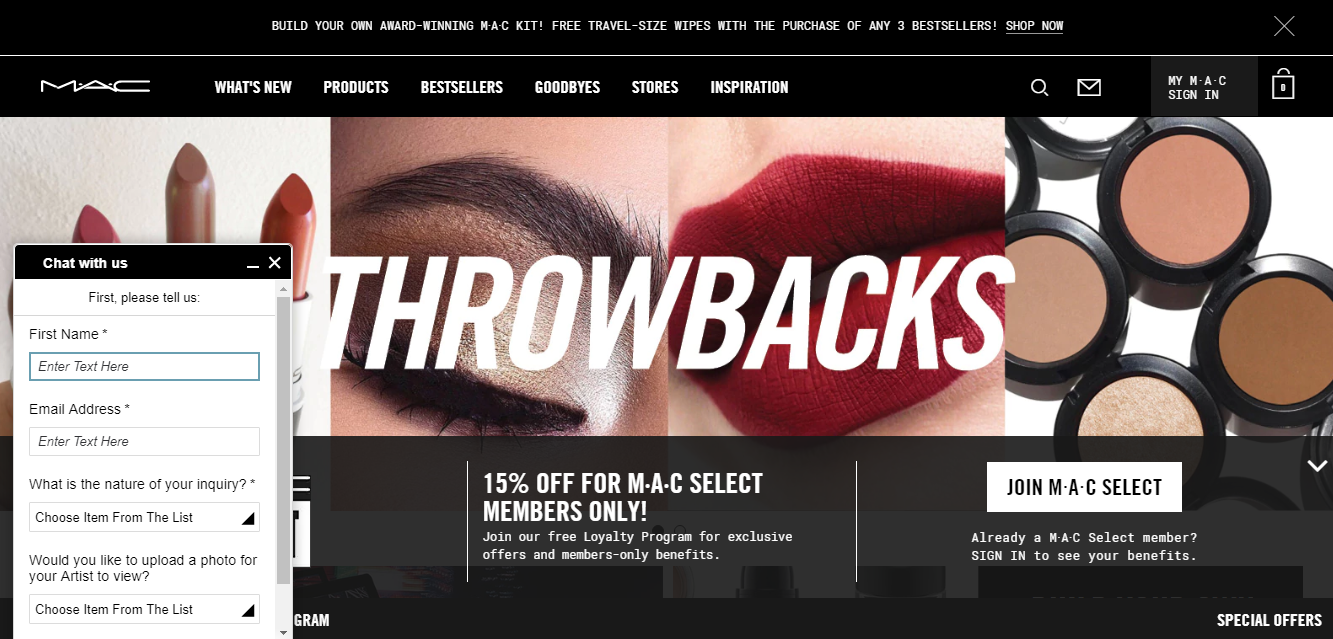 mac cosmetics website live chat