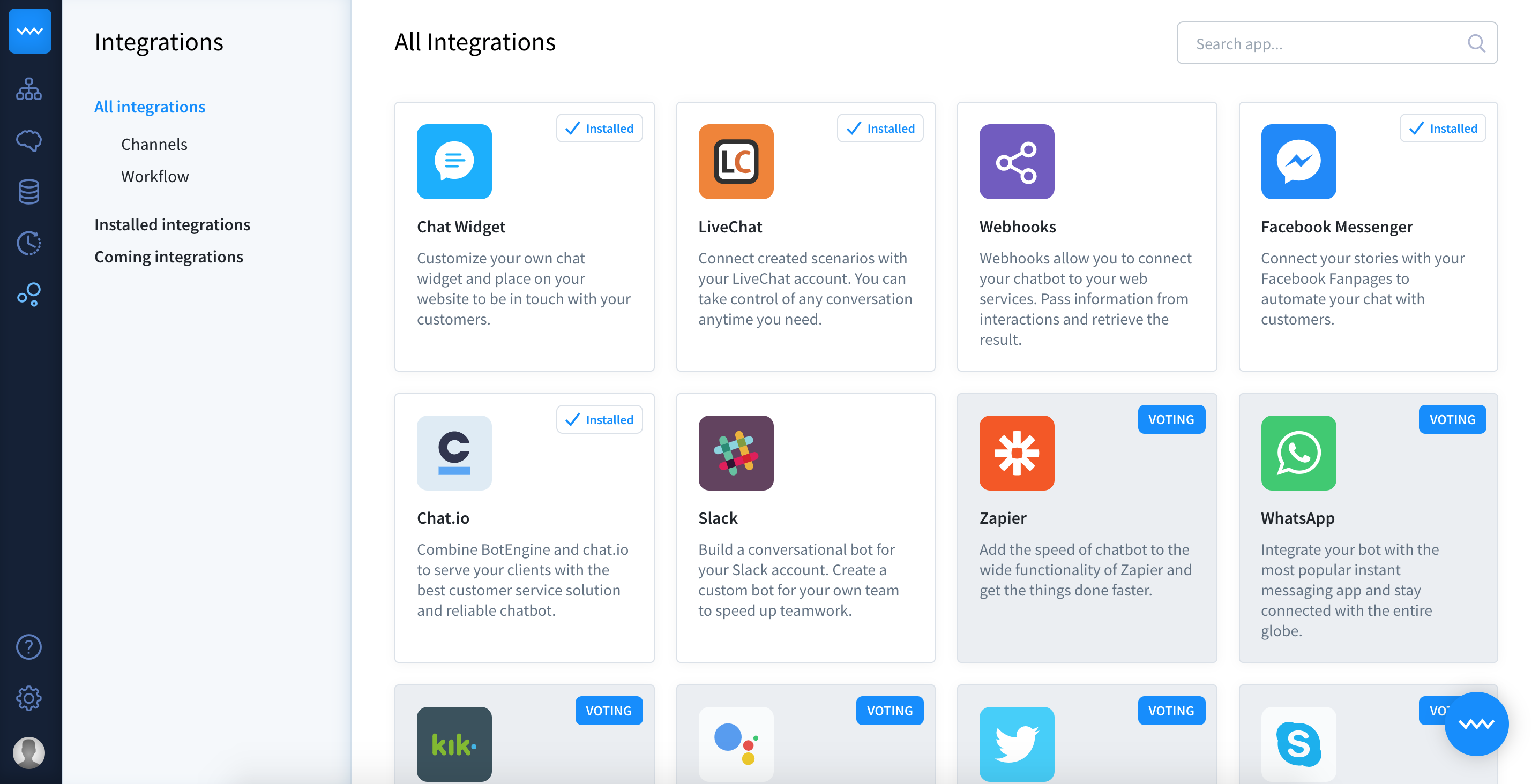 chatbot customer service bot integrations dashboard
