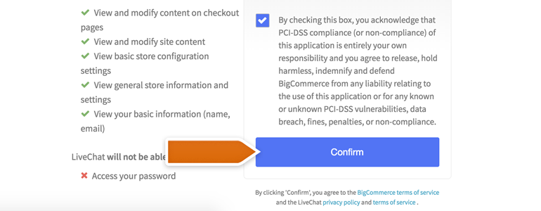 BigCommerce LiveChat: Click on Confirm to proceed with the installation