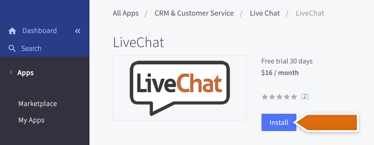 BigCommerce LiveChat: Click on Install to proceed