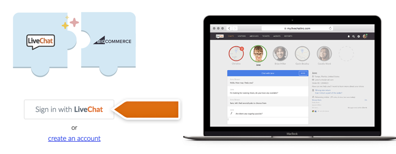 BigCommerce LiveChat: Click on Sign in with LiveChat button