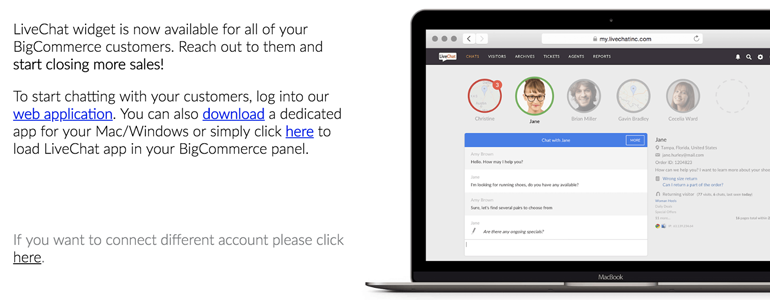 BigCommerce LiveChat: Log into LiveChat application and start chatting with customers
