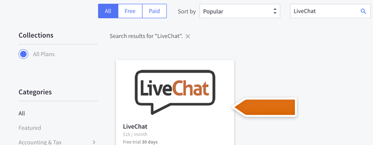BigCommerce LiveChat: Choose LiveChat from the list of Apps