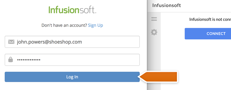 Infusionsoft LiveChat: Provide your Infusionsoft credentials