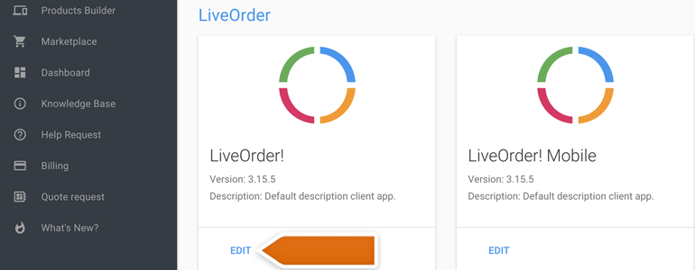 Ordering LiveChat: Log into Ordering and choose your product