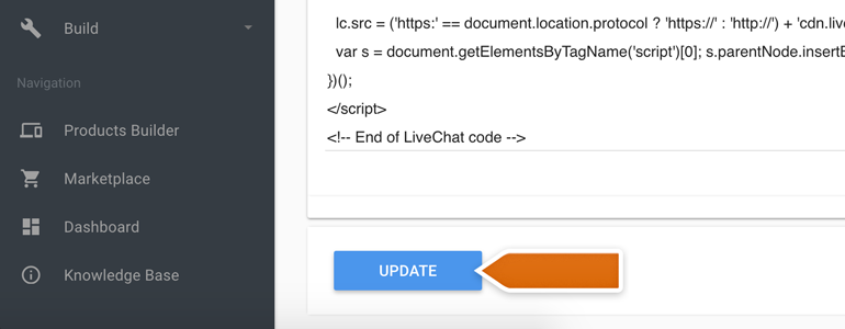 Ordering LiveChat: Click on Update to apply changes to the code