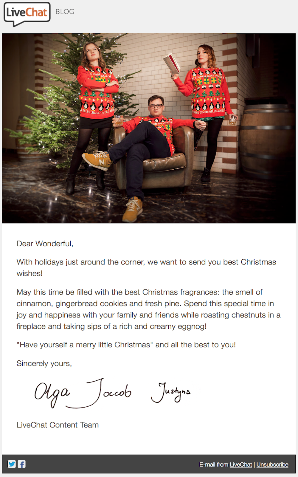 Livechat personalized christmas email