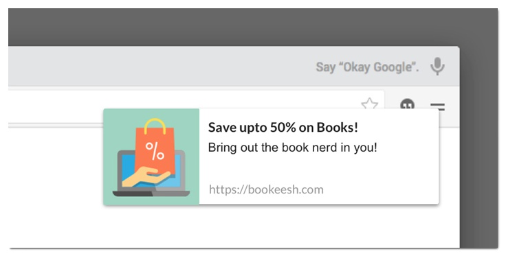browser push notifications example books discount