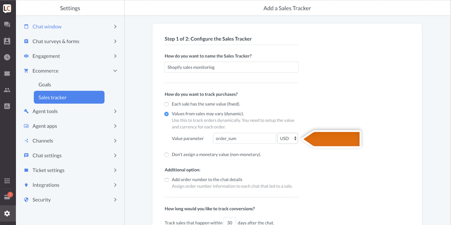 sales tracker track shopify sales using livechat
