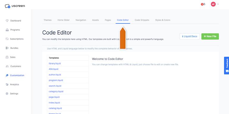 Uscreen enter code editor